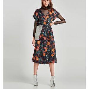 Printed floral wrap midi dress, NWT